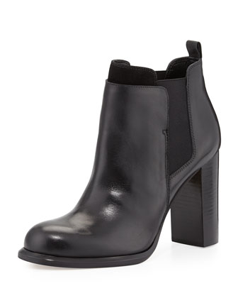 Kenner Contrast-Trim Ankle Bootie, Black