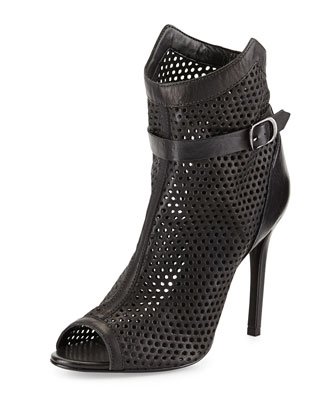 Quetlin Perforated Leather Bootie, Black