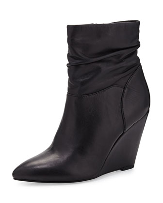 Set In Stone Leather Wedge Bootie, Black