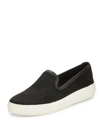 Becker Leather-Trimmed Calf Hair Sneaker, Black