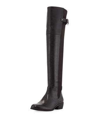 Jacob Leather Combo Knee Boot, Black