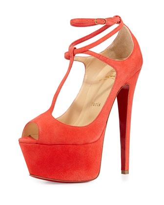 Talitha Suede Red Sole Platform Pump, Poppy