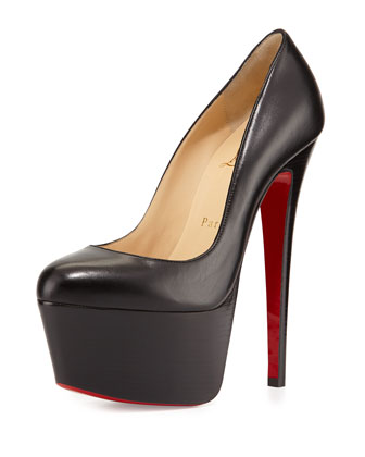 Victoria Leather Platform Red Sole Pump, Black