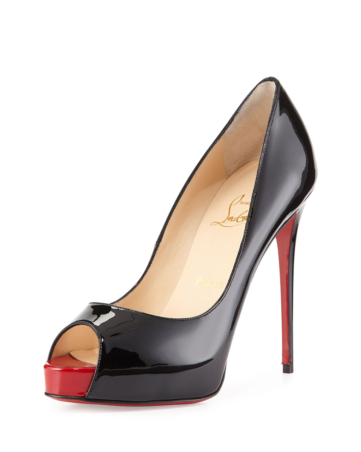New Very Prive Patent Red Sole Pump, Black/Red - Christian Louboutin