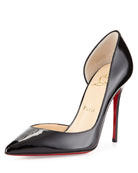 Iriza Patent Half d'Orsay Red Sole Pump, Black