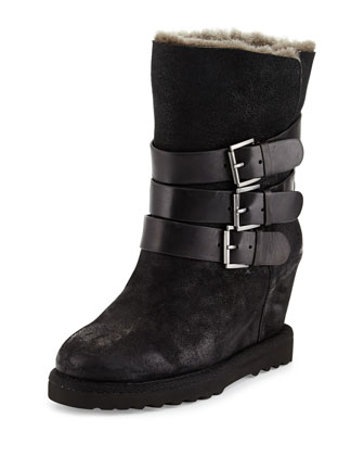 Yes Buckle Wedge Suede Boot, Black