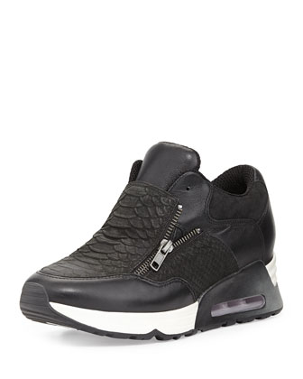 Lenny Snake-Embossed Zip-Up Sneaker, Black