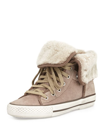 Vanna Fold-Over High-Top Sneaker, Taupe
