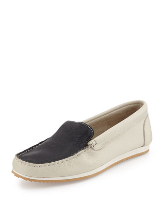 Eva Pebbled Two-Tone Loafer