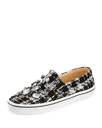 slater tweed & crystal slip-on sneaker, black/white