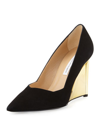 Balgo Suede Point-Toe Wedge Pump, Black