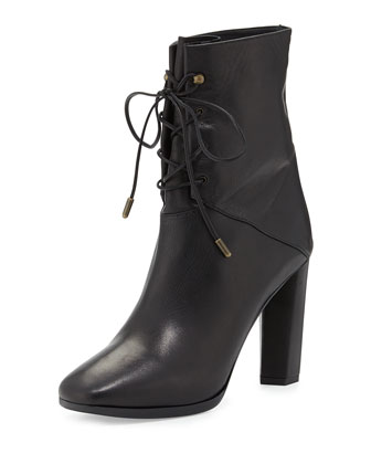 Paden Leather Lace-Up Bootie, Black