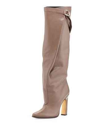 Tonya Runway Slouchy Knee Boot, Dark Taupe