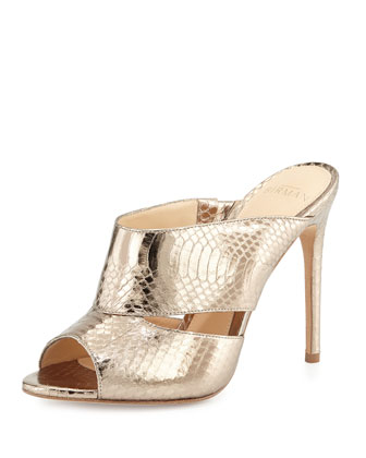 Snakeskin Slide Sandal, Metallic Luna