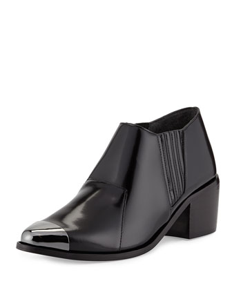 Shield Cap-Toe Ankle Boot, Black