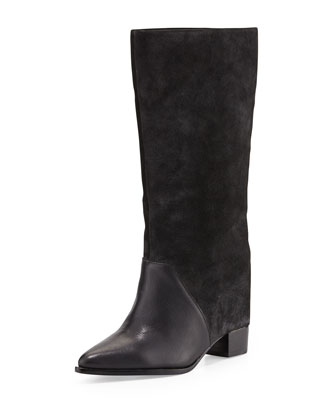 Monroe Mixed-Leather Wedge Boot
