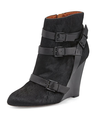 Maggie Calf Hair Wedge Bootie, Black