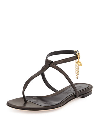 Ankle-Wrap Flat Thong Sandal, Black