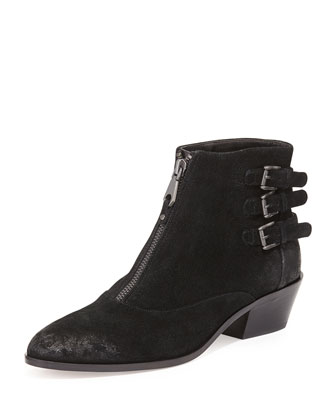 Alex Zip-Front Ankle Boot, Black