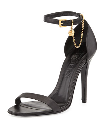 Ankle-Wrap High Heel Sandal with Skull Charm, Black