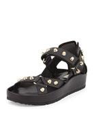 Studded Flat Leather Sandal, Noir