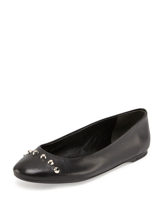 Studded Ballerina Flat, Noir