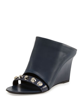 Studded Glove Wedge Slide, Blue Navy