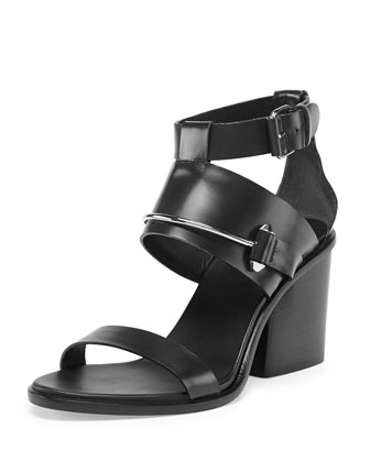 Metal-Bar Leather Sandal, Noir