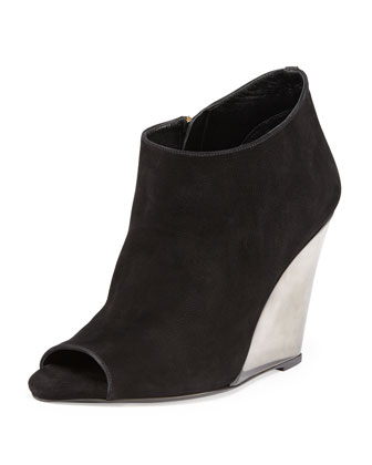 Leather Peep-Toe Wedge Bootie, Black