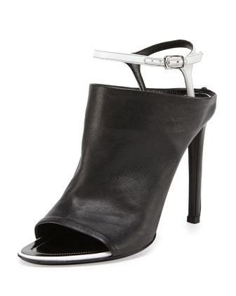 Ankle-Strap Glove Sandal, Noir/Blanc