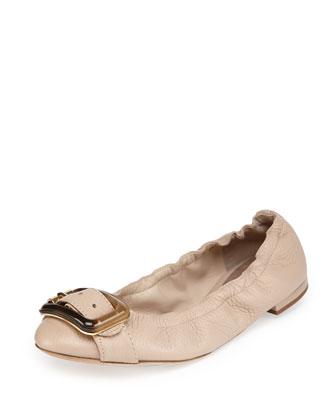 Buckle-Strap Ballerina Flat, Nude