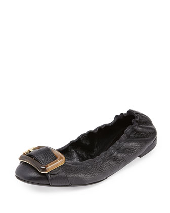 Buckle-Strap Ballerina Flat, Black