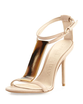 Leather T-Strap Sandal, Nude
