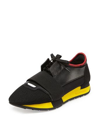 Bicolor Trainer Sneaker, Rouge