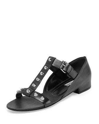 Studded T-Strap Sandal, Noir