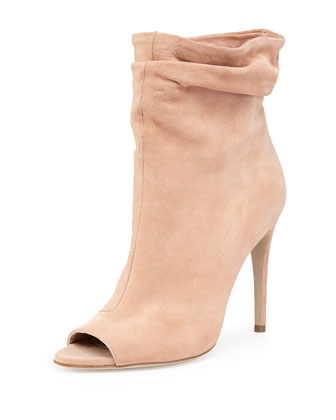 Suede Peep-Toe Scrunch Bootie, Antique Taupe Pink