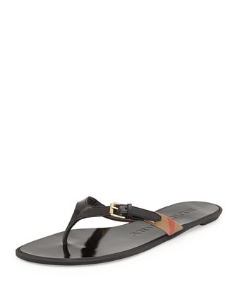 Masie Belted Check Thong Sandal, Black