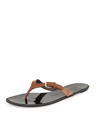 Masie Belted Check Thong Sandal, Tan