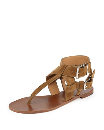 Suede Double-Buckle Thong Sandal, Sandstone