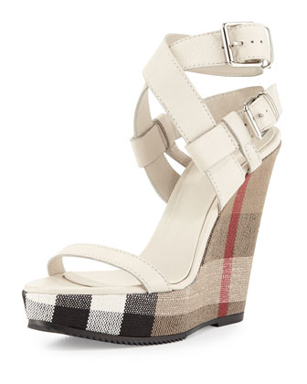 Goldfinch Check-Wedge Sandal, White