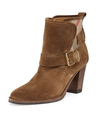 Check-Back Belted Suede Bootie, Bronze