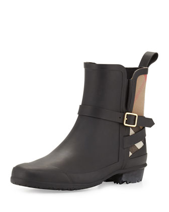 Riddlestone Check Short Rainboot, Black
