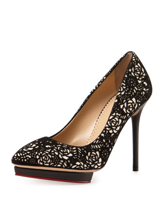 Debbie Embroidered Suede Platform Pump