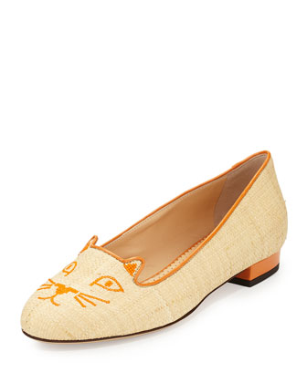 Kitty Raffia & Patent Leather Slipper, Natural/Orange
