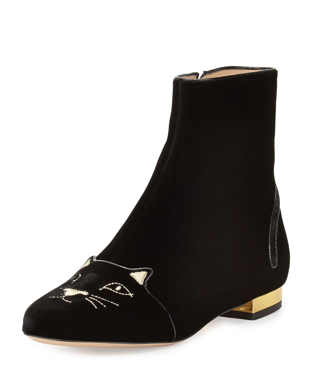Velvet Puss in Boots Short Boot, Black - Charlotte Olympia