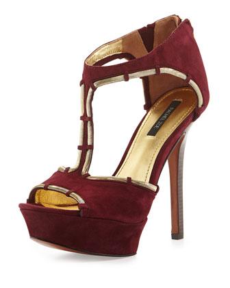 Debbi Suede Platform Sandal, Plum