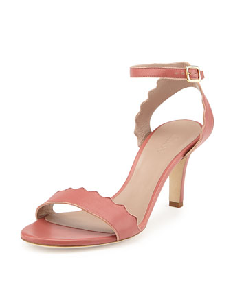 Scalloped Leather Sandal, Lipstick