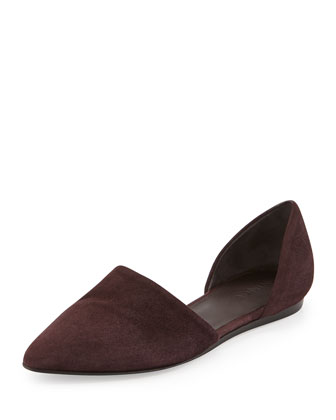 Nina Two-Piece Suede Flat, Black Cherry