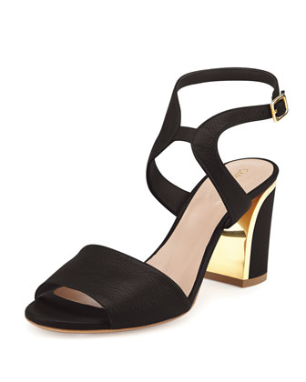 Leather Curve-Heel Sandal, Black