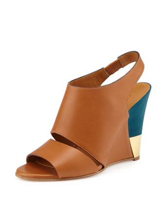 Leather Slingback Wedge, Brown/Turquoise